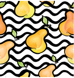 wave seamless pattern with pear fruit background vector image