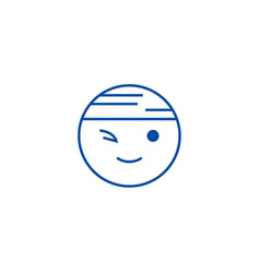 winking chinese emoji line icon concept winking vector image