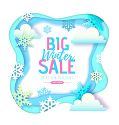 winter big sale typography poster with snowflakes vector image