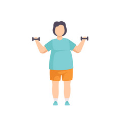 young fat man exercising with dumbbells obesity vector image
