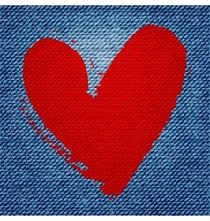 blue jean texture background with red heart vector image