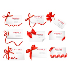 cards with red gift bows vector image vector image