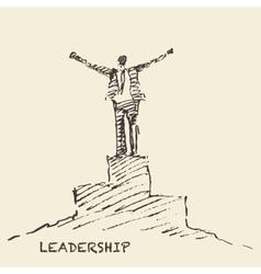 Drawn man leadership winner concept sketch vector image vector image