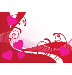 floral card hearts vector image vector image