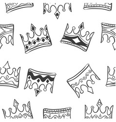 pattern crown style hand draw vector image