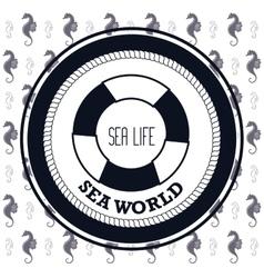 sea world life buoy and seahorse design vector image
