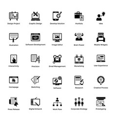 Web and graphic designing glyph icons set 5 vector