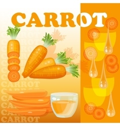 Carrot glass juice drops and slices isolated vector image vector image