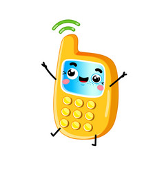 funny mobile phone cartoon character vector image vector image