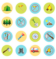 icons picnic rest in the forest in a flat style vector image vector image