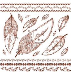 Indian mehndi style feathers set vector image vector image