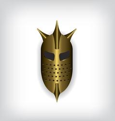 Medieval gold warrior helmet vector