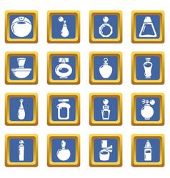 perfume bottle icons set blue square vector image