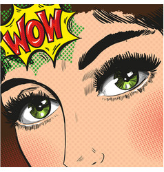 pop art woman with big eyes long speech bubble wow vector image vector image