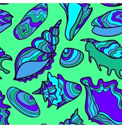 seamless pattern with vibrant hand drawn seashells vector image