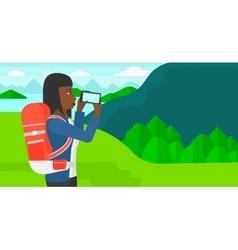 Backpacker taking photo vector image vector image