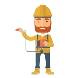 Electrician holding power cable plug vector image