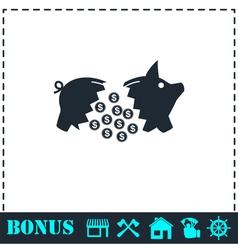Piggy icon flat vector image vector image
