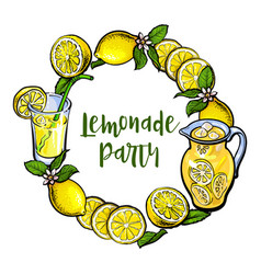 round frame of lemons and lemonade with place for vector image vector image
