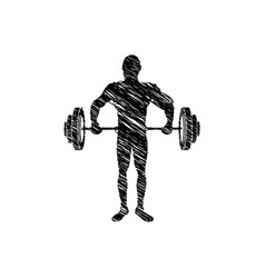 silhouette drawing man lifting weights vector image