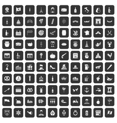 100 alcohol icons set black vector image