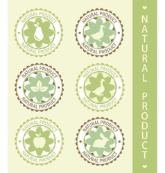 6 labels natural product vector illustration vector image