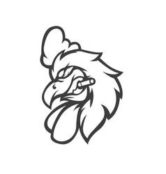 A chicken sucks cigarettes cartoon mascot logo vector