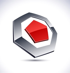 Abstract 3d heptagon icon vector