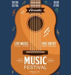 Acoustic guitar music festival poster vector