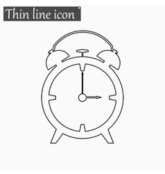 Alarm clock icon Style thin line vector image