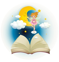 An open book with a cute fairy and a sleeping moon vector image