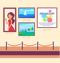 Art gallery exhibition with pictures hang on wall vector