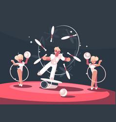 artist juggler in circus arena vector image