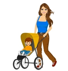 Beautiful single mather pushing stroller vector