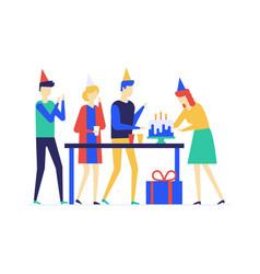Birthday anniversary celebration flat design vector