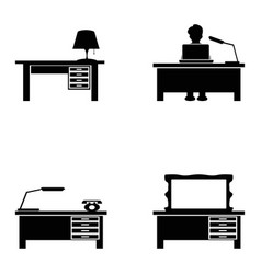 Black desk icons set vector