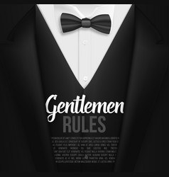Black suit gentlemen rules list template vector