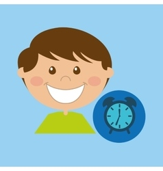 boy cartoon school clock icon design vector image