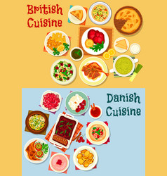 British and danish cuisine icon set design vector