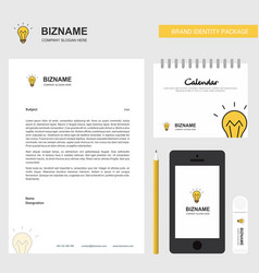 bulb business letterhead calendar 2019 and mobile vector image