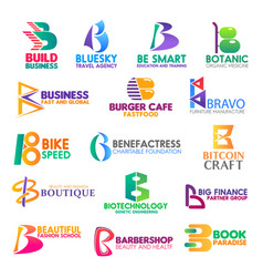 business icons letter b corporate identity vector image