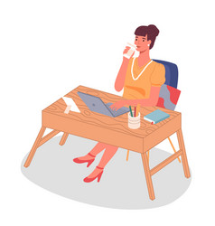 businesswoman at desk with a laptop and a cup vector image