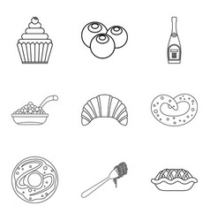 Buster icons set outline style vector