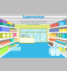 Cartoon interior shop or supermarket with vector