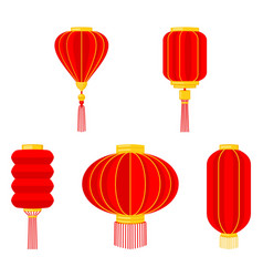 Cartoon red chinese lantern collection vector