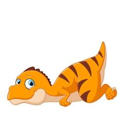 Cartoon Tyrannosaurus lie down vector