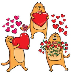 Cats in Love with heart vector