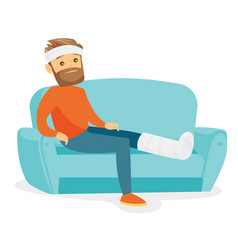 Caucasian man with broken leg sitting on the couch vector
