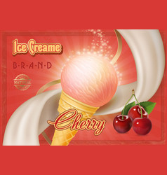 cherry ice cream in a cone advertising vector image