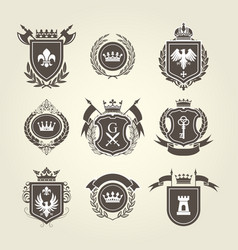 coat arms and knight blazons - heraldic shields vector image